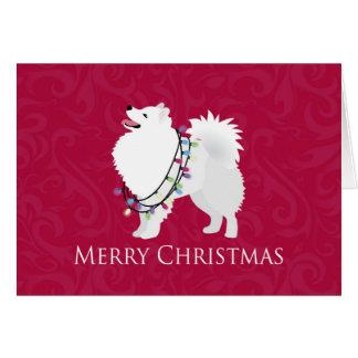 American Eskimo Dog Merry Christmas Design Card