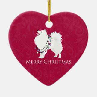 American Eskimo Dog Merry Christmas Design Ceramic Heart Decoration