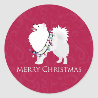 American Eskimo Dog Merry Christmas Design Classic Round Sticker
