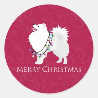 American Eskimo Dog Merry Christmas Design Round Sticker