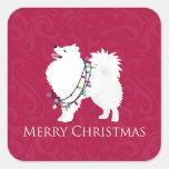 American Eskimo Dog Merry Christmas Design Square Sticker