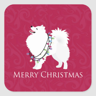 American Eskimo Dog Merry Christmas Design Square Sticker