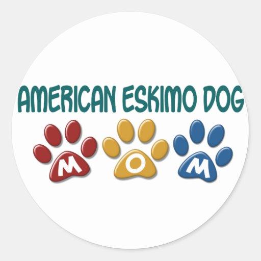 AMERICAN ESKIMO DOG MOM Paw Print Sticker