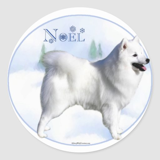 American Eskimo Dog Noel Round Sticker