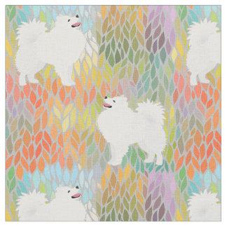 American Eskimo Dog on Autumn Leaves Pattern Fabric
