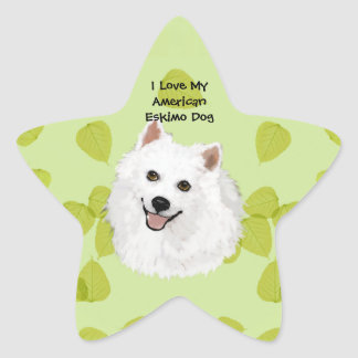 American Eskimo Dog on Green Leaves Design Star Sticker
