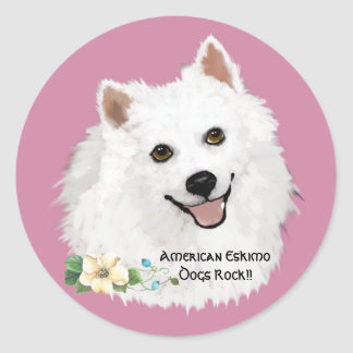 American Eskimo Dog, on Mauve with floral Classic Round Sticker