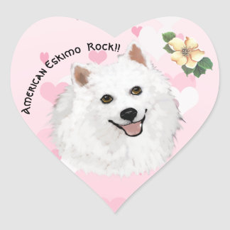 American Eskimo Dog, on Pink with white hearts Heart Sticker