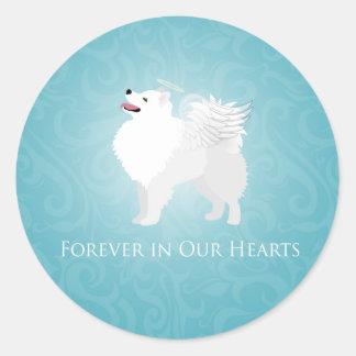 American Eskimo Dog Pet Loss Sympathy Design Round Sticker