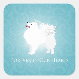 American Eskimo Dog Pet Loss Sympathy Design Square Sticker