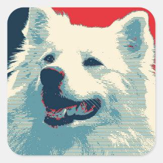 American Eskimo Dog Political Hope Parody Square Sticker