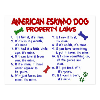 AMERICAN ESKIMO DOG Property Laws 2 Postcard