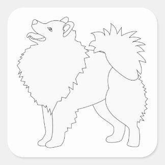 American Eskimo Dog Ready to Color Design Square Sticker