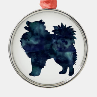 American Eskimo Dog Silhouette Designs Christmas Ornament