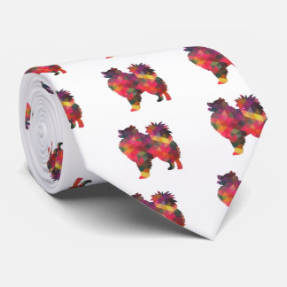 American Eskimo Dog Silhouette Designs Tie