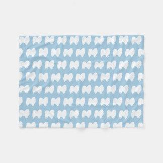 American Eskimo Dog Silhouettes Pattern Fleece Blanket