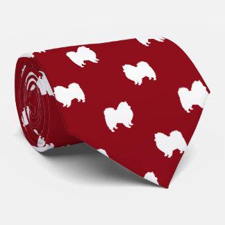 American Eskimo Dog Silhouettes Pattern Tie
