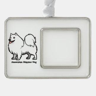 American Eskimo Dog Silver Plated Framed Ornament