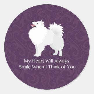 American Eskimo Dog Thinking of You Design Round Sticker