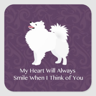 American Eskimo Dog Thinking of You Design Square Sticker
