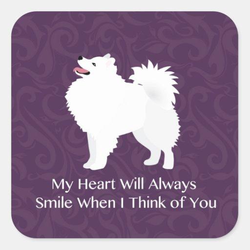 American Eskimo Dog Thinking of You Design Square Stickers