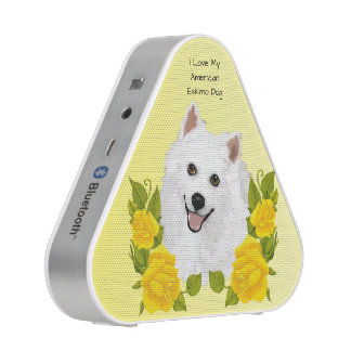 American Eskimo Dog with Yellow Roses