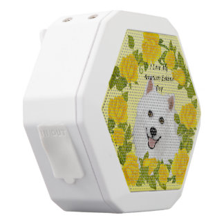 American Eskimo Dog with Yellow Roses White Bluetooth Speaker