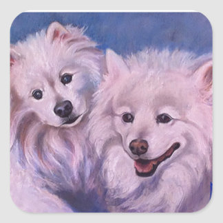 American Eskimo Dogs Square Sticker