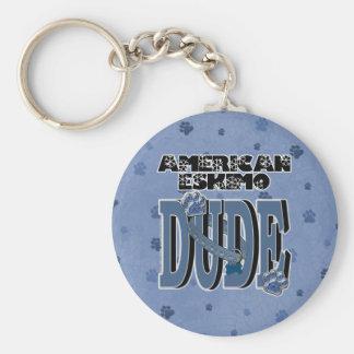 American Eskimo DUDE Basic Round Button Key Ring
