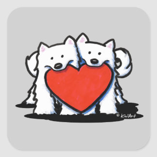 American Eskimo Heartfelt Duo Square Sticker