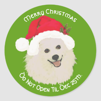 American Eskimo Merry Christmas, Do Not Open til Classic Round Sticker