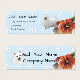 American Eskimo on Blue Diamond and Autumn Flower Mini Business Card