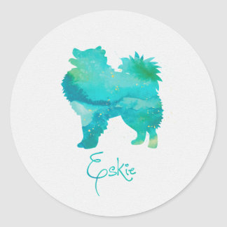 American Eskimo Watercolor Design Classic Round Sticker