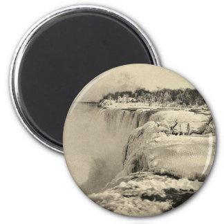 American Fall in winter, Niagara rare Photochrom Magnet