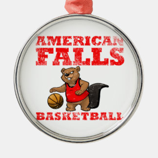 American Falls Beavers Basketball Silver-Colored Round Decoration