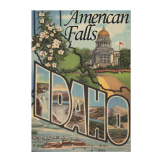 American Falls, Idaho - Large Letter Scenes Canvas Print