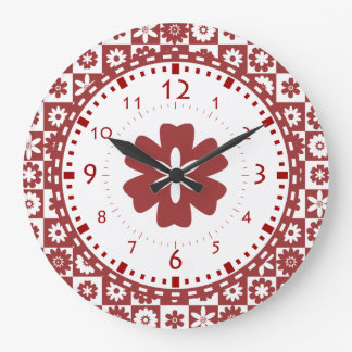 American Farm Country Kitchen Red and White Flower Large Clock