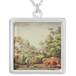 American Farm Scenes Silver Plated Necklace