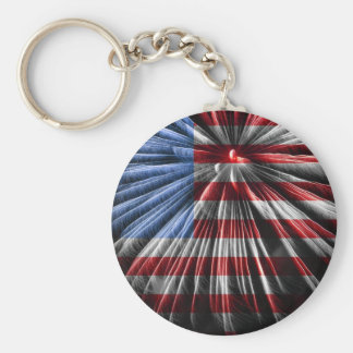 American Fireworks Flag Basic Round Button Key Ring