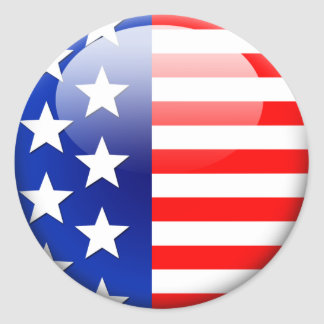 American Flag 2 0 Round Stickers