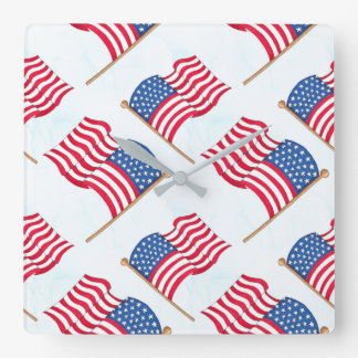 American Flag 4th Of July Red White Blue Wall Clocks