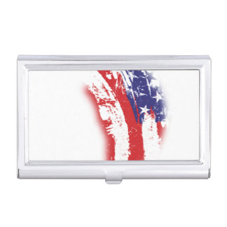 American Flag Abstract Distressed Business Card Holder