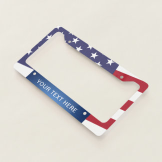 American Flag Add Your Own Text Template Licence Plate Frame