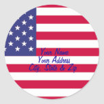American Flag Address Labels Classic Round Sticker