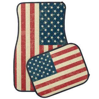 American Flag Aged Faded Car Mat