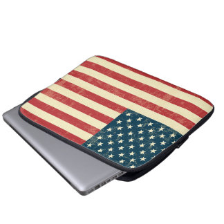 American Flag Aged Faded Laptop Sleeve