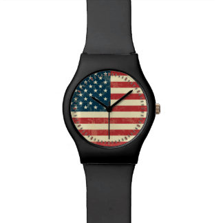 American Flag Aged Faded Watch