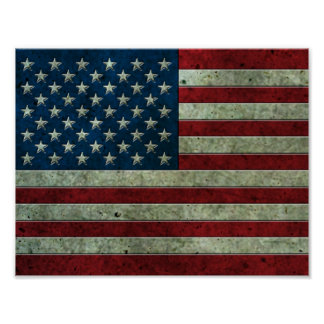 American Flag Aged Steel Effect Poster