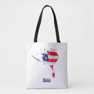 American Flag Alaska United States Tote Bag