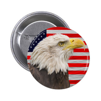 American flag and bald eagle 6 cm round badge